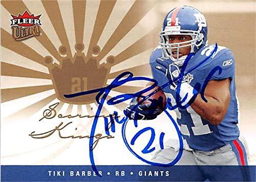 Tiki Barber autographed football card (New York Giants) 2004 Donruss Rookies Stars #62 - NFL Autographed Football Cards Barber Autographed Nfl Football