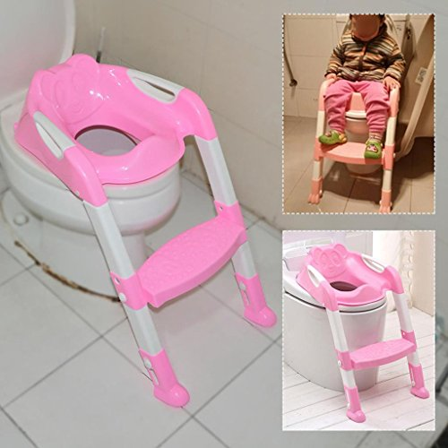 Kids Toilet Potty Trainer Seat Chair Adjustable Height Feet With Laddle Step Up, Pink (Halloween Costume Near Me)