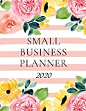 Small Business Planner 2020: Monthly Planner and Organizer 2020 with sales, expenses, budget, goals and more. Ideal for entrepreneurs, moms, women. 8.5 x 11in 120 pages stripes in coral and yellow