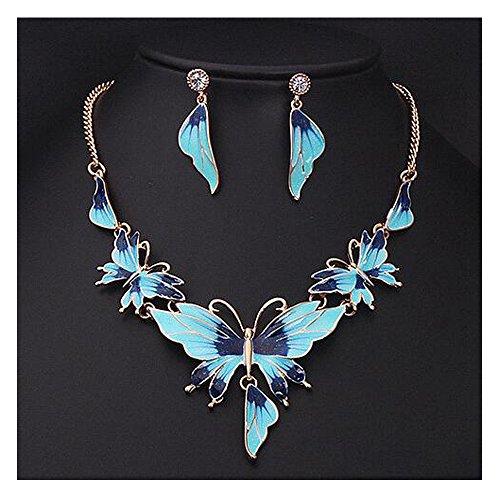Darkey Wang Women Fashion Jewelry Gold Enamel Butterfly Necklace Earrings Set(Bule)