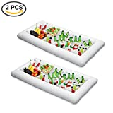 ShineMe 2 pcs Inflatable Ice Serving/Salad Bar Tray Food /Drink Holder Fruit Plate Kitchen Cooler Bin for Summer Pool Party Buffet/Table/Water BBQ/Picnic