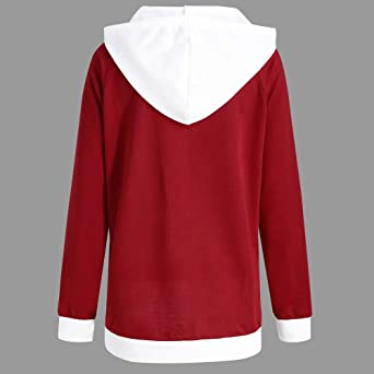 Clearance!! SFE Womens Christmas Hoodie Long Sleeve Patchwork Santa Claus Print Hooded Pullover Blouse Sweatshirt at Amazon Womens Clothing store: