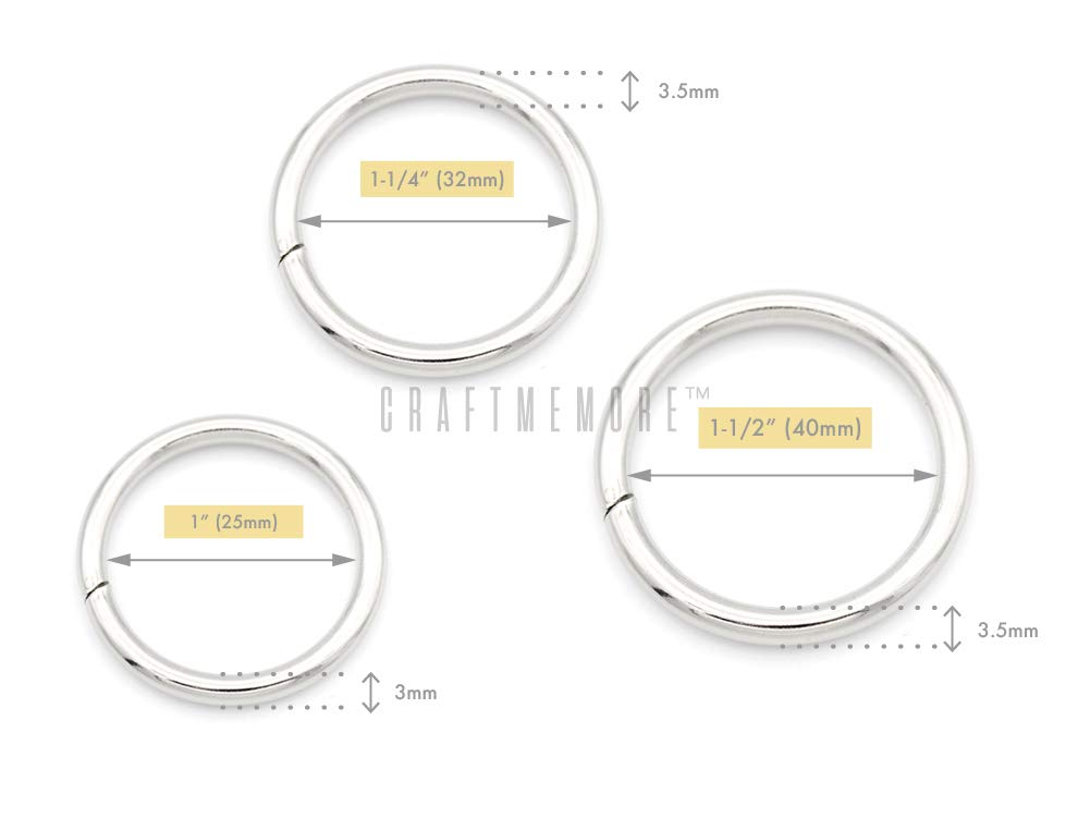 1-1//4 x 10 pcs, Antique Brass CRAFTMEmore O-Ring Findings Metal Non-Welded O Rings for Belts Bags Landyard DIY Leather Hand Craft