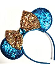 CLGIFT Jasmine Inspired Minnie Mouse Ears, Aladdin Inspired, Princess Jasmine,Rose Gold Mouse Ears, Aladdin Ears