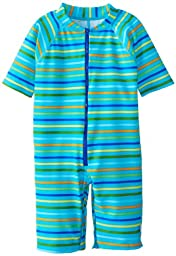 i play. Toddler One Piece Swim Sunsuit, Aqua Multi Stripe, 3T