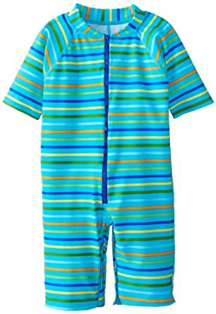 i play. Baby One Piece Swim Sunsuit, Aqua Multi Stripe, 6 Months