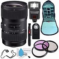Sigma 18-35mm f/1.8 DC HSM Art Lens for Canon (International Model) No Warranty + 72mm 3 Piece Filter Kit + Deluxe Cleaning Kit + SLR Camera Sling Bag + External Flash Bundle