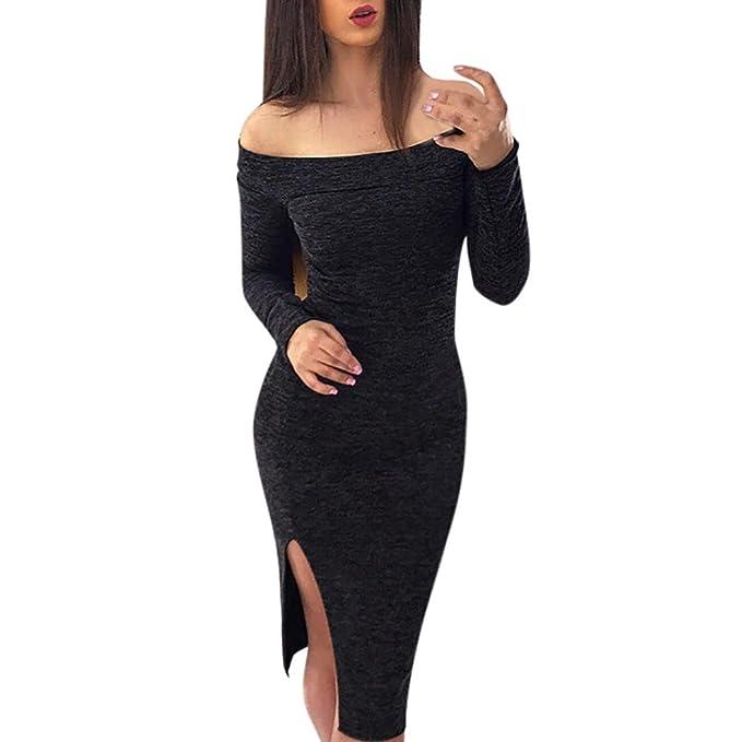 51bcae6d7 Vestidos Ajustados Mujer Koly Vestidos Cortos Largo Manga Fuera del hombro  Casual Sólido Rodilla Longitud Vestir