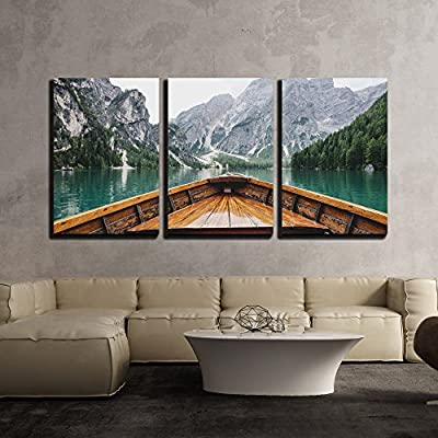 Magnificent Creative Design, Boat Cruising a Mountain Lake x3 Panels, Crafted to Perfection