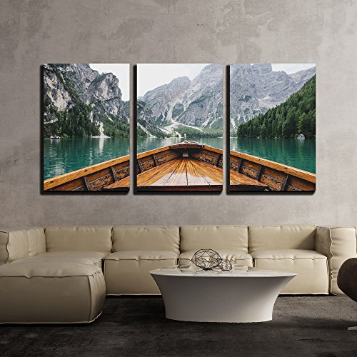- wall26 - 3 Piece Canvas Wall Art - Boat Cruising a Mountain Lake - Modern Home Decor Stretched and Framed Ready to Hang - 16