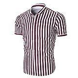 GREFER Hot Sale Men's Summer Short Sleeve Striped Shirt Top Blouse Tee Shirt