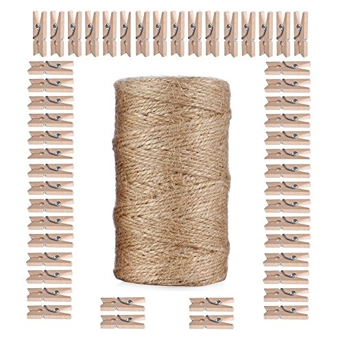 Giveet 328 Feet Natural Jute Twine and 100 PCS Mini Clothespins, Multi-Purpose Arts Crafts Twine Industrial Heavy Duty Packing String for Gifts, DIY Crafts, Festive and Gardening Applications