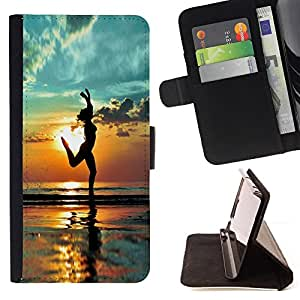 Beach Yoga Summer Shadow Relief - Painting Art Smile Face Style Design PU Leather Flip Stand Case Cover FOR Samsung Galaxy Note 3 III @ The Smurfs