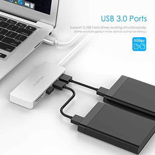 LENTION 3-Port USB 3.0 Type A Hub SD/Micro SD Card Reader SDXC/SDHC/SD, Micro SDXC/SDHC/SD, UHS-I Cards, Multiport Adapter Compatible MacBook Air/Pro, Chromebook, Dell, Surface, More (Silver) by LENTION (Image #3)