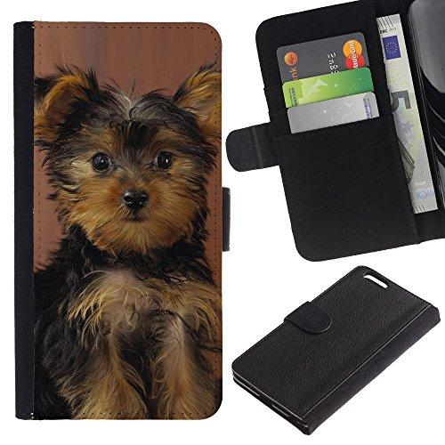 Be Good Phone Accessory // Caso del tirón Billetera de Cuero Titular de la tarjeta Carcasa Funda de Protección para Apple Iphone 6 PLUS 5.5 // Yorkshire Terrier Puppy Surprised Dog