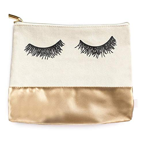 Eyelash Cosmetic Bag With Gold Faux Leather Cotton Canvas Eyelash Makeup Bag Toiletry Bag Luggage Travel Lash Make Up Gift For Her