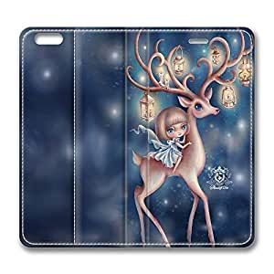 iPhone 6 Leather Case, Personalized Protective Flip Case Cover The Deer for New iPhone 6