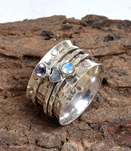 Ring Moonstone Amethyst - Ring for Love Heart, Beautiful Gift Ring, Sterling Silver Ring, Moonstone Ring, Amethyst Ring, Womens Gift Spinner Ring, Thumb Ring, Three Band Ring, Tow Stone Ring Gift For Her, Girl Ring