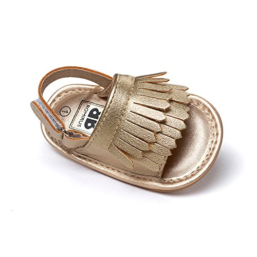 Kuner Unisex Baby Tassel Rubber Sole Non-slip Summer Prewalker Sandals First Walkers (13cm(12-18months), Golden)
