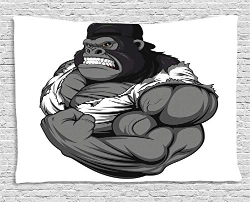(Cartoon Tapestry Image of Big Gorilla Like as Professional Athlete Bodybuilding Gym Animal Wall Hangings Tapestries Polyester Fabric Wall Decor 40x60 Inches, Black White)