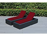 Ohana 2-Piece Outdoor Patio Furniture Chaise Lounge Set, Black Wicker with Sunbrella Jockey Red Cushions – No Assembly with Free Patio Cover