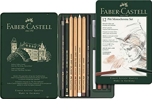 Faber-Castel 112975 PITT Monochrome Tin Set ,12 Piece