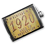 8oz Flask Stitched Vintage Year 1920, Born/Made Stainless Steel - Neonblond