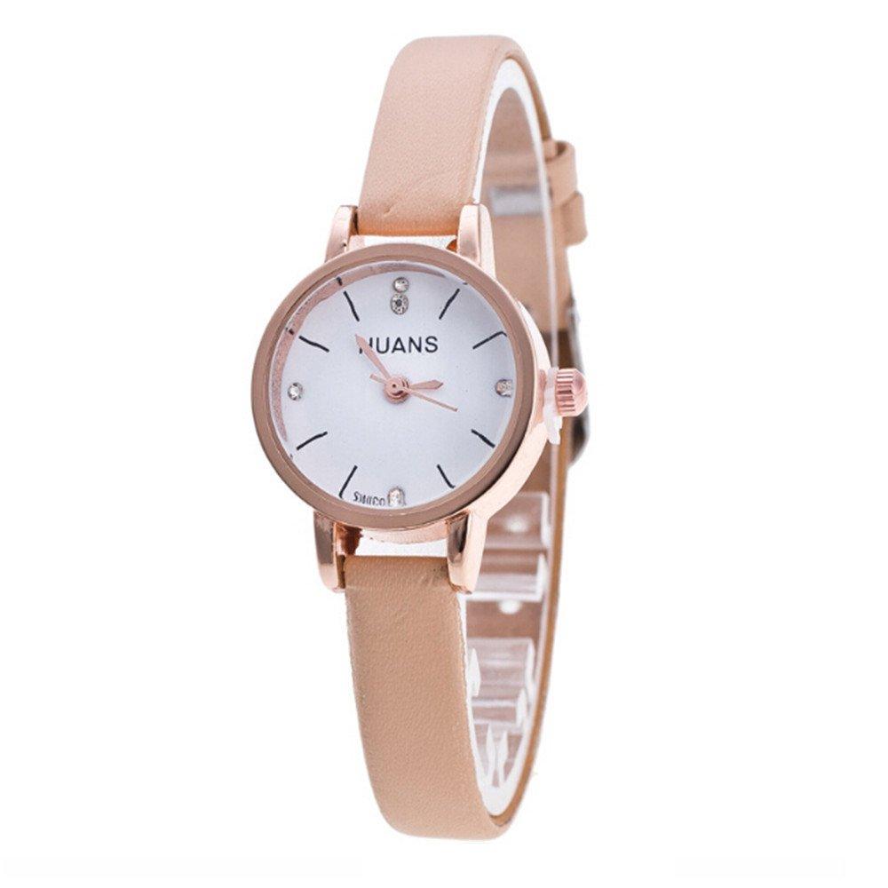 Gusspower Reloj de Pulsera de Cuarzo para Mujeres, Correa de Acero Cuero Color Moda Simple Regalo (Blanco): Amazon.es: Relojes