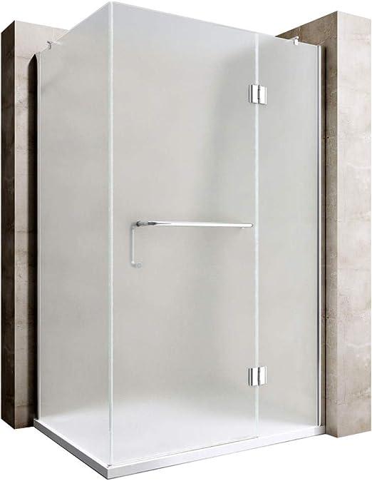 Durovin - Mampara de ducha rectangular con bisagras y barra de ...