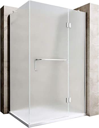 Durovin - Mampara de ducha rectangular con bisagras y barra de torre (cristal esmerilado, 4 unidades): Amazon.es: Bricolaje y herramientas
