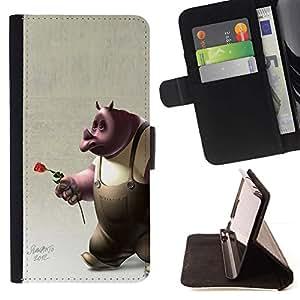 Momo Phone Case / Flip Funda de Cuero Case Cover - Rose 3D Cartoon Character Rose Love - Samsung ALPHA G850
