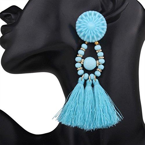 Sunward 1 Pair Beautiful Elegant Bohemian Style Long Thread Tassel Drop Dangling Earrings Ear Studs (E)