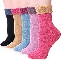 EBMORE Paquete de 5 pares de medias de lana y algodón, para el invierno, cómodas, calientes, informales, a la moda, para mujer.