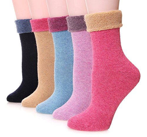 Ebmore Womens Wool Fuzzy Socks Thick Warm Thermal Winter Fleece Lined Crew Socks 5 Pack  Colorful Pink