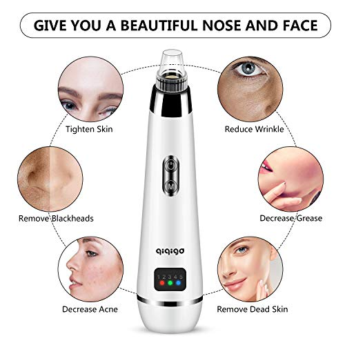 QIQIGO Blackhead Remover Pore Vacuum Upgraded 5 in 1 Black Head Cleaning Tool Device Comedo Removal Suction Dermasuction Beauty Device Electric Blackhead Vacuum Cleaner Device for Men and Women