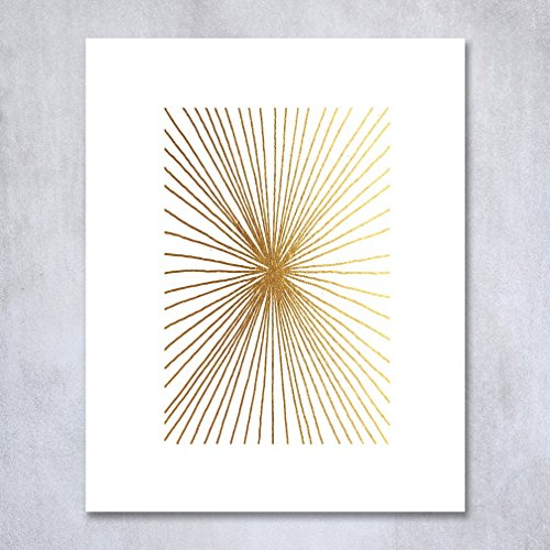 Burst Lines Gold Foil Print Small Poster Abstract Hand Drawn Contemporary Geometric Wall Art Gold Decor 5 inches x 7 inches