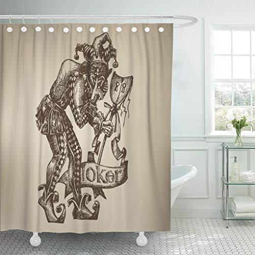 Emvency Shower Curtain Evil Black Jester Joker Clown Queen Fortune Poker Wicked Shower Curtains Sets with Hooks 72 x 72 Inches Waterproof Polyester Fabric ()