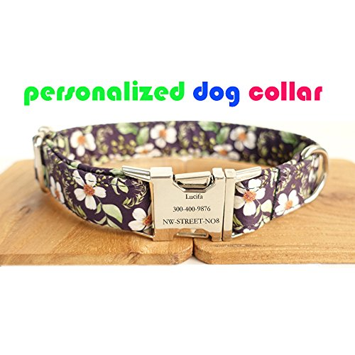 luloo Personalized Dog Collar, Engraving Custom with Dog or Cat Name/Phone Number/Address Adjustable Braided DIY ID Collar with Metal Clasp (Black Flower)