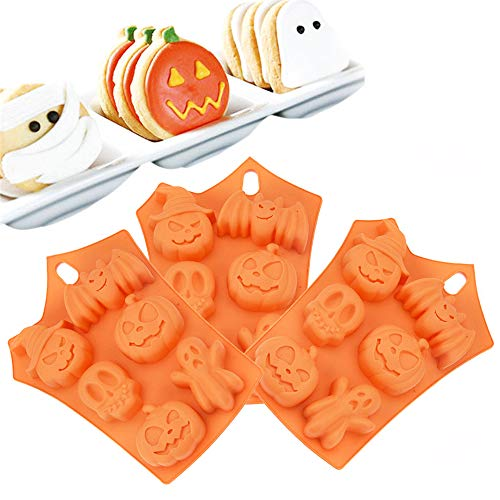 YTLS Halloween Silicone Chocolate Mold Set of 3, Baking Mold Soap Maker Candy Making Molds with Pumpkins Skulls Ghosts Bats Mummies Halloween Party Supplies ()