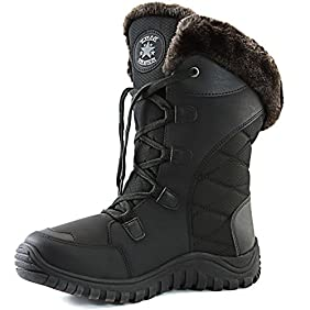 DailyShoes Women's Comfort Round Toe Mid Calf Hiking Outdoor Ankle High Eskimo Winter Fur Snow Boots