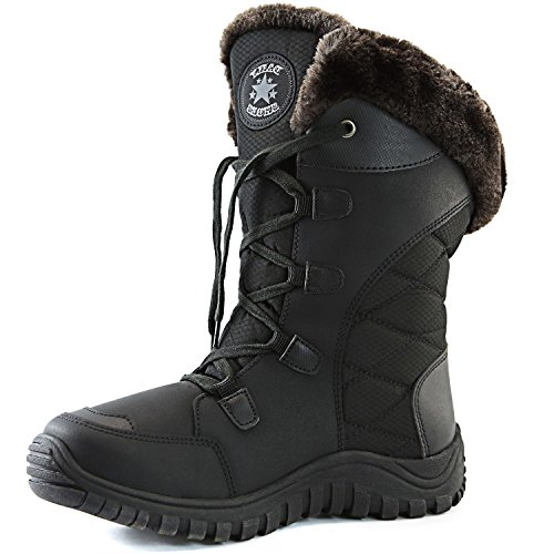Women's DailyShoes Comfort Round Toe Mid Calf Hiking Outdoor Ankle High Eskimo Winter Fur Snow Boots, 5