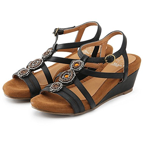 Alexis Leroy Strappy Low Wedge Heel Women Platform Sandals Black