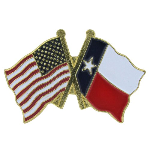 US Flag Store Lapel Pin USA and Texas Flag ()