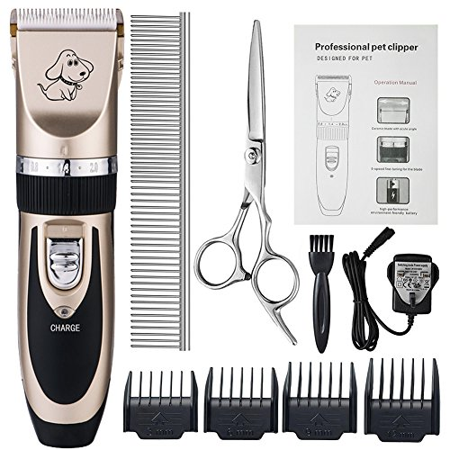Dog Grooming Clippers, Otstar Rechargeable Cordless Pet Hair Clippers Kit...
