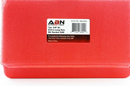 "ABN Extra-Long SAE Standard Socket 7-Piece Set, 3/8"" Inch Hex Drive – 1/8"", 9/32"", 3/16"", 7/32"", 1/4'', 5/16"", 3/8"" by ABN (Image #3)"
