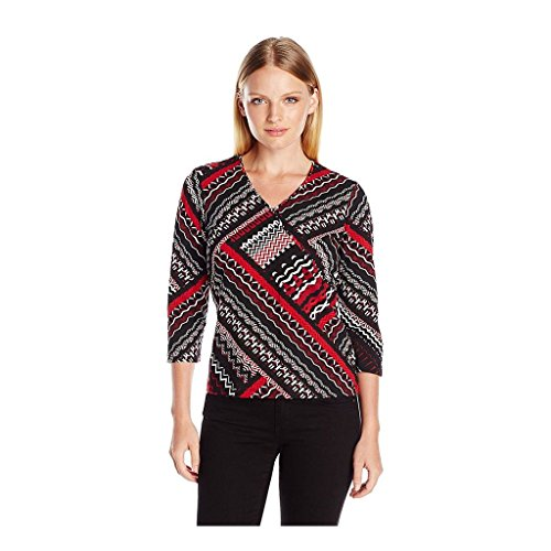 Zig Zag Knit Top (Ruby Rd. Women's Embellished Mock-Surplice Zig Zag Patchwork Print Knit Top, Black/Multi, Small)