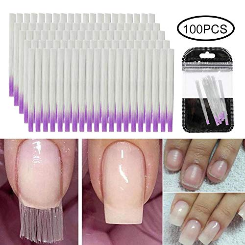 Teepao Fiberglass Nail Extension, 10/100pcs Fiberglass Gel Nail Fibers Quick Extension Fiberglass Nails Strips for UV Gel Nails Art