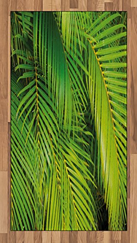 Lunarable Nature Area Rug, Macro Palm Tree Leaves Tropical Jungle Forest Branches Exotic Plants Eco Picture, Flat Woven Accent Rug for Living Room Bedroom Dining Room, 2.6 x 5 FT, Fern Green
