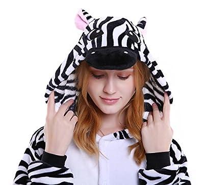 Dingwangyang Uinisex Adult Pajamas Onesie Kigurumi Cosplay Costumes Animal Jumpsuit Zebra