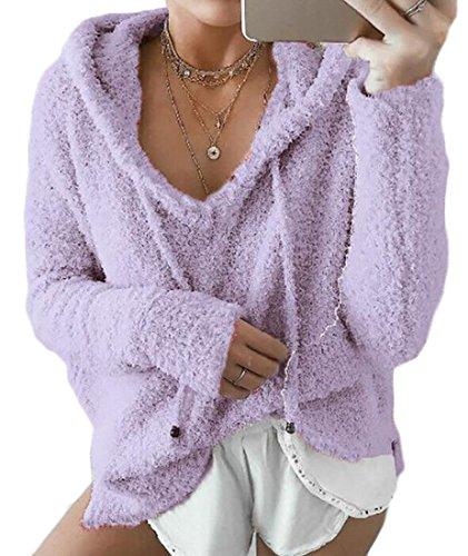 Sweatshirt Drawstring Purple Hoodies Solid Women Loose Neck UK today V Pullover Fleeced zTHHqS